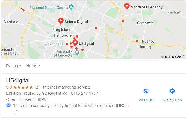 google my business listing example